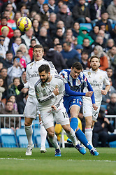 14.02.2015, Estadio Santiago Bernabeu, Madrid, ESP, Primera Division, Real Madrid vs Deportivo La Coruna, 23. Runde, im Bild Real Madrid&acute;s Nacho Fernandez and Deportivo de la Courna&acute;s Oriol Riera // during the Spanish Primera Division 23rd round match between Real Madrid vs Deportivo La Coruna at the Estadio Santiago Bernabeu in Madrid, Spain on 2015/02/14. EXPA Pictures &copy; 2015, PhotoCredit: EXPA/ Alterphotos/ Victor Blanco<br /> <br /> *****ATTENTION - OUT of ESP, SUI*****