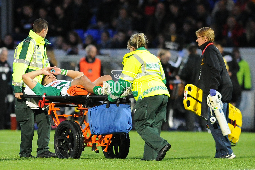 Tommaso Allan is taken off during the Guinness Pro 14 2017_18 match between Edinburgh Rugby and Benetton Treviso at Myreside Stadium, Edinburgh, Scotland on 15September 2017. Photo by Kevin Murray.