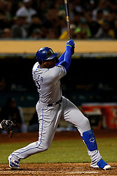 OAKLAND, CA - SEPTEMBER 16: Jorge Soler #12 of the Kansas City Royals at bat against the Oakland Athletics during the fifth inning at the RingCentral Coliseum on September 16, 2019 in Oakland, California. The Kansas City Royals defeated the Oakland Athletics 6-5. (Photo by Jason O. Watson/Getty Images) *** Local Caption *** Jorge Soler