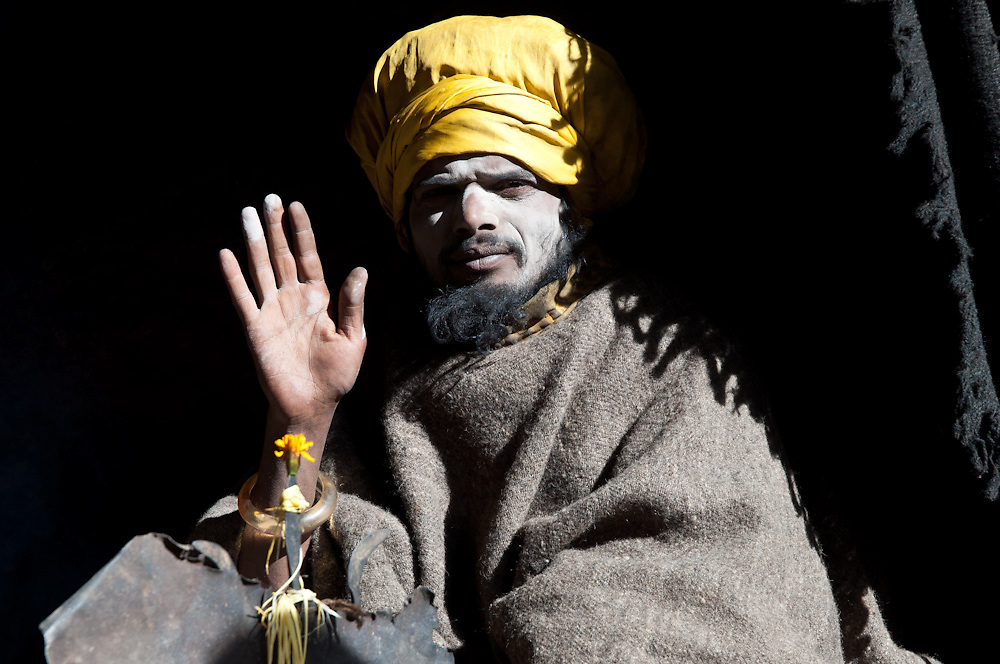 A sadhu living in a cave near Badrinath temple, near the source of the Alaknanda River