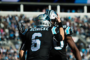 December 23, 2018. Panthers vs Falcons. Taylor Heinicke, QB and Ian Thomas, TE after scoring Heinicke\s first NFL touchdown