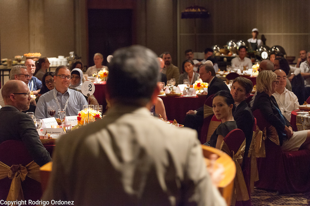 Participants listen as the Chairman of the World Diabetes Foundation, Dr Anil Kapur (foreground, center), makes some remarks before dinner at the global summit on diabetes and tuberculosis in Bali, Indonesia, on November 2, 2015.<br /> The increasing interaction of TB and diabetes is projected to become a major public health issue.&nbsp;The summit gathered a hundred public health officials, leading researchers, civil society representatives and business and technology leaders, who committed to take action to stop this double threat. (Photo: Rodrigo Ordonez for The Union)