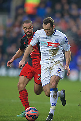 BIRKENHEAD, ENGLAND - Saturday, January 3, 2015: Tranmere Rovers' Danny Holmes in action against Swansea City during the FA Cup 3rd Round match at Prenton Park. (Pic by David Rawcliffe/Propaganda)