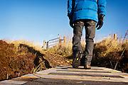Man in blue jacket wearing gloves walks over footbridge in the Moffat Hills, Annandale Way