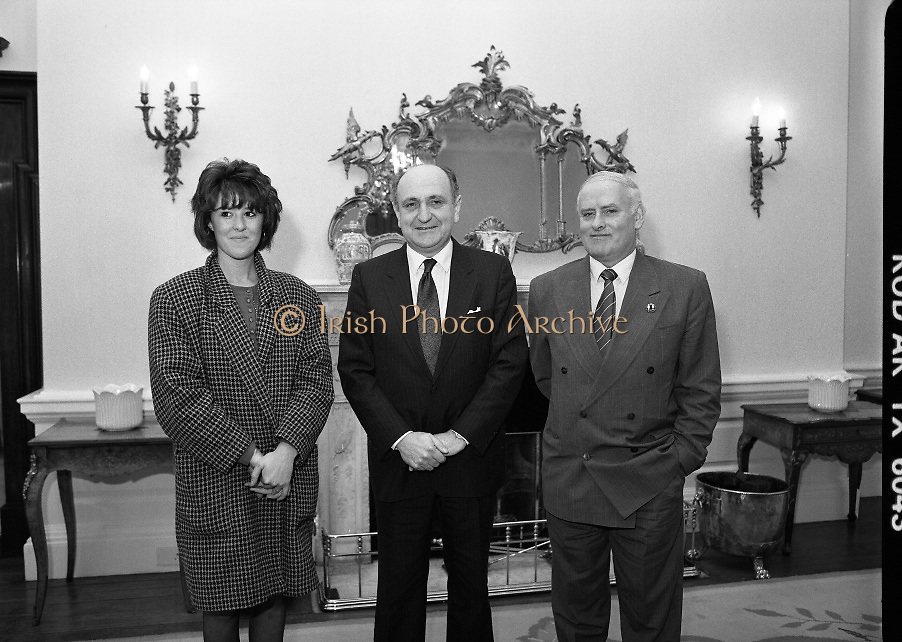 Family Of Birmingham 6 Meet Gerard Collins TD.  (T9)..Six men?Hugh Callaghan, Patrick Joseph Hill, Gerard Hunter, Richard McIlkenny, William Power and John Walker?sentenced to life imprisonment in 1975 in England for the Birmingham pub bombings. .Family members, of two of the men, met with Minister For Foreign Affairs, Gerard Collins TD at Iveagh House in Dublin. They felt that the convictions were wrong and that the men were innocent, they hoped that the Irish Government would apply pressure on the English authorities to review their case...Image shows the Minister for Foreign Affairs ,Gerard Collins TD, meeting with Ms Breda Power,daughter of Billy Power and Mr Paddy McIlkenny, brother of Dick McIlkenny as they put forward their case as to the innocence of the Birmingham 6.