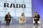 (C) Agnieszka Radwanska - new global brand Rado Ambassador and (L) Matthias Breschan President of Rado brand and (R) journalist Bozydar Iwanow during press conference at the Uffcio Primo Club in Warsaw on April 30, 2014.<br /> <br /> Poland, Warsaw, April 30, 2014<br /> <br /> Picture also available in RAW (NEF) or TIFF format on special request.<br /> <br /> For editorial use only. Any commercial or promotional use requires permission.<br /> <br /> Mandatory credit:<br /> Photo by &copy; Adam Nurkiewicz / Mediasport