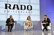 (C) Agnieszka Radwanska - new global brand Rado Ambassador and (L) Matthias Breschan President of Rado brand and (R) journalist Bozydar Iwanow during press conference at the Uffcio Primo Club in Warsaw on April 30, 2014.<br /> <br /> Poland, Warsaw, April 30, 2014<br /> <br /> Picture also available in RAW (NEF) or TIFF format on special request.<br /> <br /> For editorial use only. Any commercial or promotional use requires permission.<br /> <br /> Mandatory credit:<br /> Photo by © Adam Nurkiewicz / Mediasport