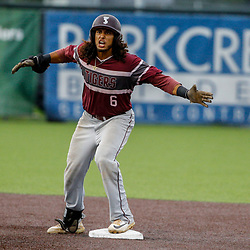 Texas Southern infielder Jose Camacho (6) reacts after hitting a double against the Alabama State during the top of the thirteenth inning of the SWAC baseball championship final in New Orleans, La. Sunday, May 21, 2017.