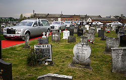 © Licensed to London News Pictures. 21/04/2018. London, UK. Silver Rolls Royces parked up at the burial of traveller 'Queenie, Elizabeth Doherty at Kensal Green Cemetery in west London, following a funeral service in Cobham, Surrey. Elizabeth Doherty, whose son Paddy Doherty is known for appearing on My Big Fat Gypsy Wedding and winning Celebrity Big Brother 8, died of a heart attack earlier this month. Paddy Doherty claimed his mother has died of a 'broken heart' following the death of her husband almost a year ago. Photo credit: Ben Cawthra/LNP