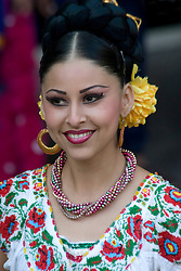 Mexico, Yucatan, Merida, female folk dancer
