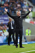 Brentford manager (head coach) Dean Smith looks frustrated, looks dejected during the EFL Sky Bet Championship match between Brighton and Hove Albion and Brentford at the American Express Community Stadium, Brighton and Hove, England on 10 September 2016.