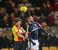 Dundee&rsquo;s Marcus Haber and Partick Thistle's Adam Barton - Partick Thistle v Dundee in the Ladbrokes Scottish Premiership at Firhill, Glasgow - Photo: David Young, <br /> <br />  - &copy; David Young - www.davidyoungphoto.co.uk - email: davidyoungphoto@gmail.com
