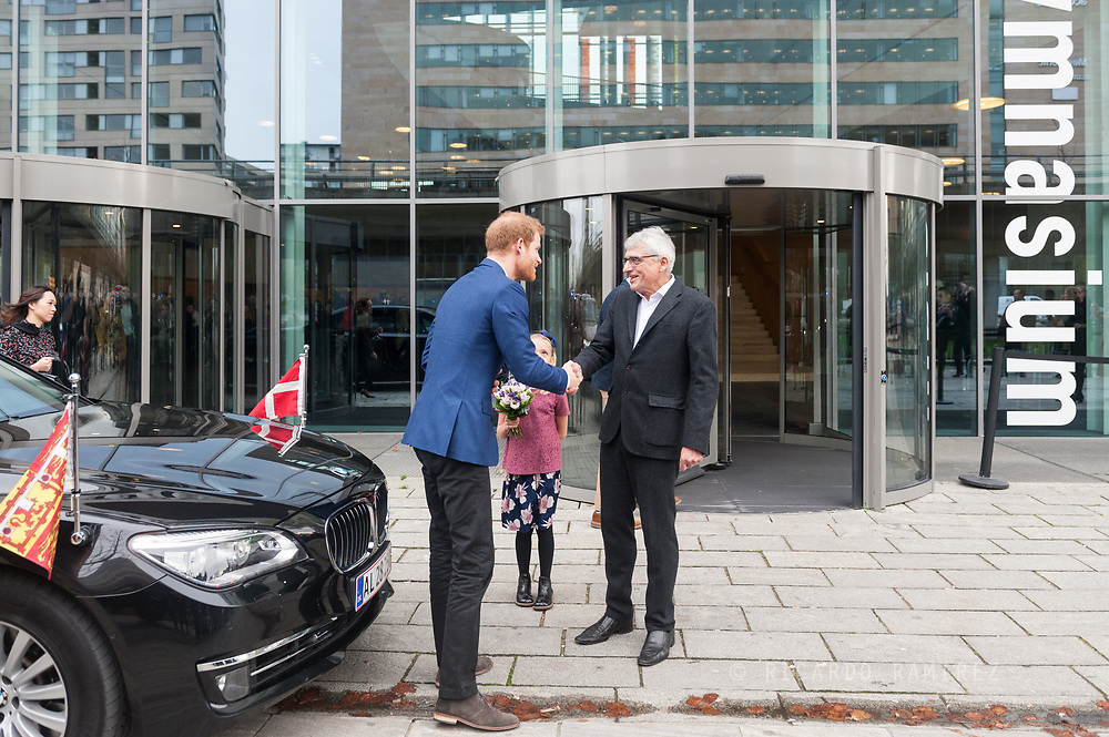 26.10.12017. Copenhagen, Denmark.  <br /> Prince Harry's arrival at the Ørestad High School as part of his official visit to Copenhagen.<br /> Photo: © Ricardo Ramirez