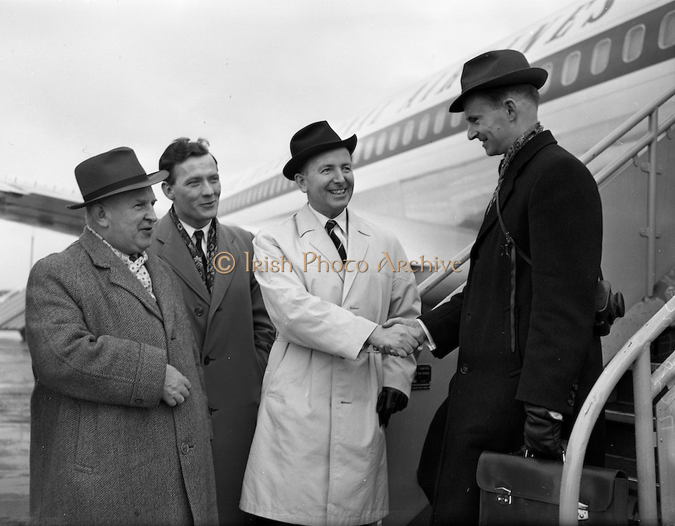 25/02/1961<br /> 02/25/1961<br /> 25 February 1961<br /> Noel Clery, (Jacobs) leaves for tour of the United States for Jacobs Biscuits, from Dublin Airport, Dublin.