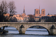 France. Paris. Seine river bridges. Panoramic  view on The Seine river bridges, city island, Cathedral notre Dame.