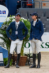Guerdat Steve, Fuchs Martin, SUI<br /> Göteborg - Gothenburg Horse Show 2019 <br /> Longines FEI World Cup™ Final I<br /> Int. jumping competition - speed and handiness<br /> Longines FEI Jumping World Cup™ Final and FEI Dressage World Cup™ Final<br /> 04. April 2019<br /> © www.sportfotos-lafrentz.de/Dirk Caremans