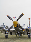 A North American P-51 Mustang on display at the EAA Airventure airshow, Oshkosh, Wisconsin.