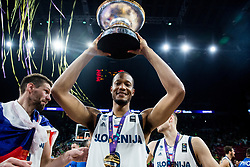 Anthony Randolph of Slovenia celebrating at Trophy ceremony after winning during the Final basketball match between National Teams  Slovenia and Serbia at Day 18 of the FIBA EuroBasket 2017 when Slovenia became European Champions 2017, at Sinan Erdem Dome in Istanbul, Turkey on September 17, 2017. Photo by Vid Ponikvar / Sportida