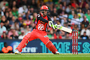 17th February 2019, Marvel Stadium, Melbourne, Australia; Australian Big Bash Cricket League Final, Melbourne Renegades versus Melbourne Stars; Mackenzie Harvey of the Melbourne Renegades attempts to play through the off side