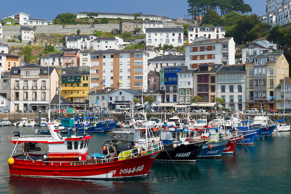 Fishing boats in the harbour at Luarca in Asturias, Spain
