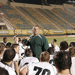 07 November 2008:  Ponchatoula coach Mike Baiamonte The Ponchatoula Green Wave defeated District 7-5A rival the Hammond Tornados 34-13 at Strawberry Stadium in Hammond, LA . The Green Wave with the win clinched a spot in the 2008 playoffs.