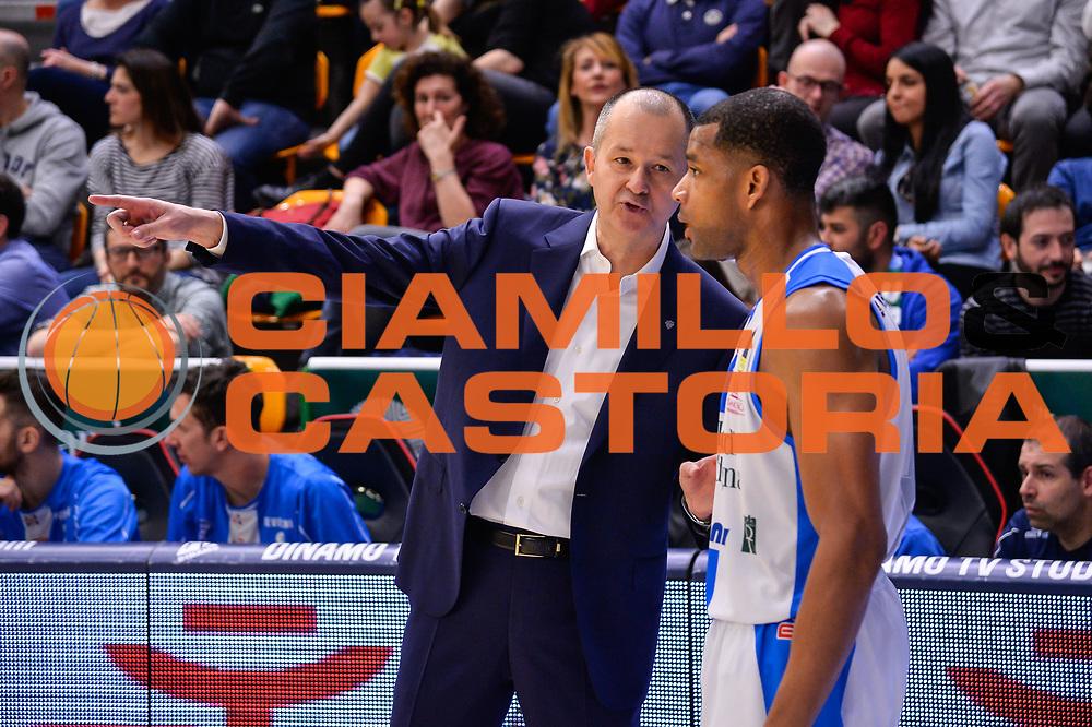 Zare Markovski, Joshua Bostic<br /> Banco di Sardegna Dinamo Sassari - Germani Basket Leonessa Brescia<br /> Legabasket Serie A LBA PosteMobile 2017/2018<br /> Sassari, 08/04/2018<br /> Foto L.Canu / Ciamillo-Castoria