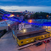 Roasterie Coffee Company headquarters drone's eye view at dusk, Westside neighborhood in vicinity of downtown Kansas City, Missouri.