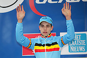 BELGIUM / ZOLDER / CYCLING / WIELRENNEN / CYCLISME / CYCLOCROSS / CYCLO-CROSS / VELDRIJDEN / WERELDBEKER / WORLD CUP / COUPE DU MONDE / U23 / PODIUM / CELEBRATION / HULDIGING / WOUT VAN AERT (BEL) /