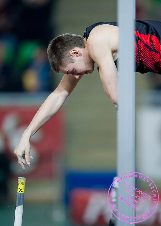 Pawel Wojciechowski of Poland competes in men's pole vault during indoor athletics meeting Pedro's Cup 2012 at Luczniczka Hall in Bydgoszcz, Poland.<br /> <br /> Poland, Bydgoszcz, February 8, 2012.<br /> <br /> Picture also available in RAW (NEF) or TIFF format on special request.<br /> <br /> For editorial use only. Any commercial or promotional use requires permission.<br /> <br /> Mandatory credit:<br /> Photo by &copy; Adam Nurkiewicz / Mediasport