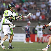 Jerry Ragonese #37 of the New York Lizards follows through on his shot during the game at Harvard Stadium on July 19, 2014 in Boston, Massachusetts. (Photo by Elan Kawesch)