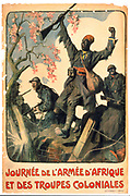 World War I 1914-1918: Poster for magazine for the French African Army and Colonial Troops. It shows French soldiers with black soldiers from Africa and the colonies, 1917.
