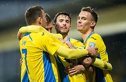 Players celebrate after Veljko Batrovic of Domzale  scored 2nd goal for Domzale during football match between NK Domzale and NK Krka in Semifinal of Slovenian Football Cup 2016/17, on April 4, 2017 in Sports park Domzale, Slovenia. Photo by Vid Ponikvar / Sportida