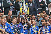 Karleigh Osborne lifting the trophy following the Sky Bet League 2 play off final match between AFC Wimbledon and Plymouth Argyle at Wembley Stadium, London, England on 30 May 2016.