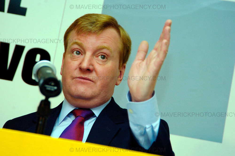 Charles Kennedy leader of the Liberal Democrats at a party conference in Edinburgh's Rosbery House today.