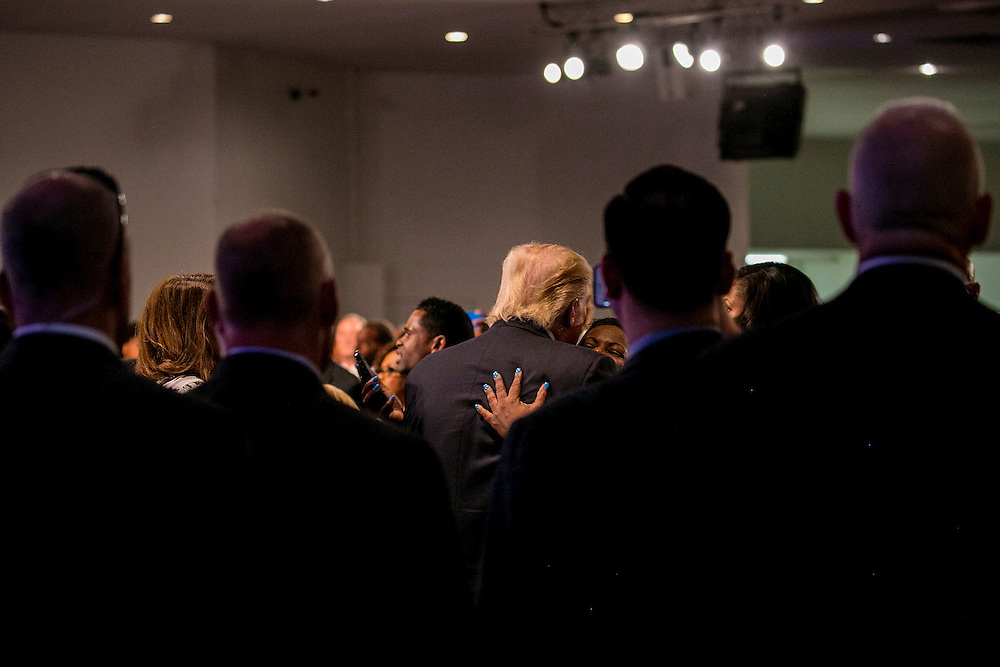 DETROIT, MI - SEPTEMBER 3, 2016: Republican presidential nominee Donald J. Trump attends a service at the Great Faith Ministries International church in Detroit, Michigan. CREDIT: Sam Hodgson for The New York Times.
