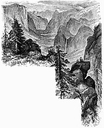 Entrance of Yosemite Valley, California, USA. Yosemite designated as a state park in 1864, then made a national park in 1890 together with surrounding territory. Wood engraving c1875.