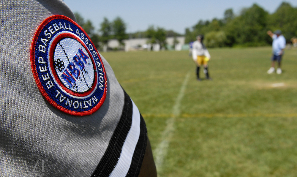 The National Beep Baseball Association logo as seen on the sleeve of a Cleveland Scrappers player..Photo by Ken Blaze.