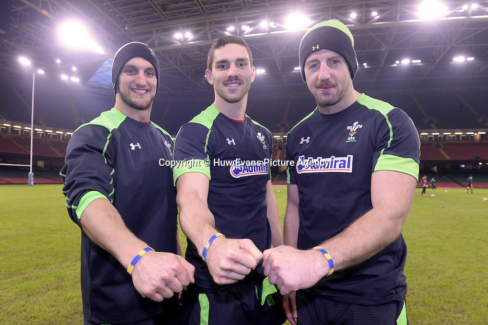 21.11.14 - Wales Rugby Training -<br /> Sam Warburton, George North and Alex Cuthbert with #StayStrongForOws wristbands during training.<br /> &copy; Huw Evans Picture Agency
