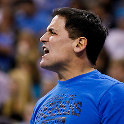 November 17, 2010; New Orleans, LA, USA; Dallas Mavericks owner Mark Cuban reacts from the bench during the first half against the New Orleans Hornets at the New Orleans Arena. Mandatory Credit: Derick E. Hingle