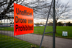Signage outside Huish Park prohibiting drone use after a recent game was halted due to an unauthorised drone hovering over the ground - Rogan/JMP - 26/01/2018 - FOOTBALL - Huish Park - Yeovil, England - Yeovil Town v Manchester United - FA Cup Fourth Round.