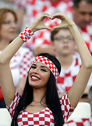 A Croatia's fan cheers prior the group D match between Croatia and Nigeria at the 2018 soccer World Cup in the Kaliningrad Stadium in Kaliningrad, Russia, Saturday, June 16, 2018. (AP Photo/Petr David Josek)