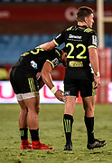 Beauden Barrett, of the Hurricanes  consoles his team mate, Matt Proctor, of the Hurricanes after the loss of the 2018 Super Rugby game between the Bulls and the Hurricanes at Loftus Versveld, Pretoria on 24 February 2018.<br /> Copyright photo: Catherine Kotze/BackpagePix / www.photosport.nz