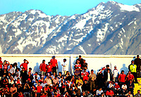 Chile win 1-0 over Argentina in their 2010 World Cup qualifying soccer match in Santiago, October 15, 2008.<br /> Chile fans supporters with the back of the Cordillera de Los Andes.<br /> © Dupla / PikoPress