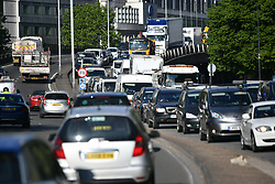 © Licensed to London News Pictures. 18/05/2020. London, UK. Traffic builds up on the A40 Westway heading in to London at rush hour, during lcokdown. Government has announced a series of measures to slowly ease lockdown, which was introduced to fight the spread of the COVID-19 strain of coronavirus. Photo credit: Ben Cawthra/LNP