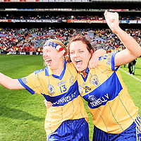 27 September 2009; Aine and Bernie Kelly, Clare, celebrate their side's victory over Fermanagh. TG4 All-Ireland Ladies Football Intermediate Championship Final, Clare v Fermanagh, Croke Park, Dublin. Picture credit: Stephen McCarthy / SPORTSFILE *** NO REPRODUCTION FEE ***