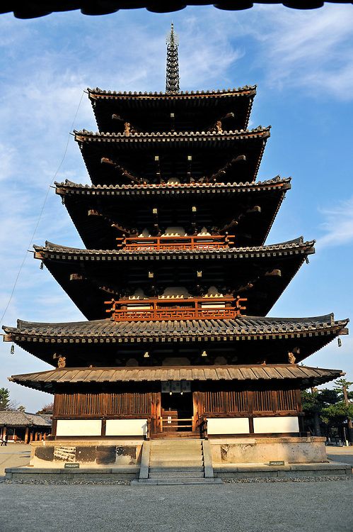 The five-story pagoda..H?ry?-ji is one of Japan's oldest Buddhist temples..Its main hall, five storied pagoda and central gate, dating from the 7th century, are the world's oldest surviving wooden structures.