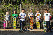 A group of Wadebridge youngsters that WREN community energy has given funds received from the FITS from their solar array to a project that build a local skate park within the town. Wadebridge, Cornwall. UK