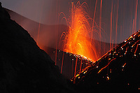 Molten lava erupts from Stromboli Sicily