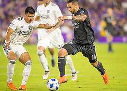 April 21, 2018 - Orlando, FL, U.S. - ORLANDO, FL - APRIL 21: Orlando City forward Dom Dwyer (14) drives to the goal during the MLS soccer match between the Orlando City FC and the San Jose Earthquakes at Orlando City SC on April 21, 2018 at Orlando City Stadium in Orlando, FL. (Photo by Andrew Bershaw/Icon Sportswire) (Credit Image: © Andrew Bershaw/Icon SMI via ZUMA Press)