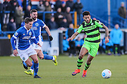 Forest Green Rovers Kaiyne Woolery(14) runs forward during the FA Trophy match between Macclesfield Town and Forest Green Rovers at Moss Rose, Macclesfield, United Kingdom on 4 February 2017. Photo by Shane Healey.